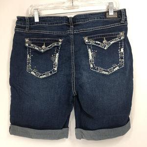 Earl Jean 16 Shorts Denim Dark Wash Cuffed